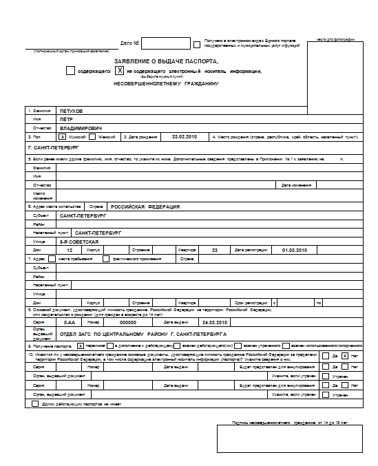 Заявление на загранпаспорт старого образца на 5 лет: образец